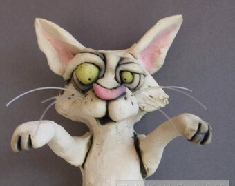 Pouncing Cat Ceramic Wall Sculpture