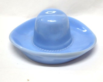 1930's Dephite Blue Glass Cowboy Hat Ashtray or Pin Tray by Jeannette Glass