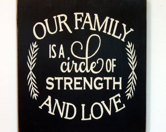 Our Family is a Circle of Strength and Love wood sign