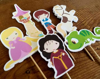 Rapunzel Party - Set of 12 Rapunzel and Friends Double Sided Assorted Cupcake Toppers by The Birthday House