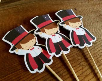 Magic Show Party - Set of 12 Magician Cupcake Toppers by The Birthday House