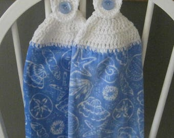 2 Crocheted Hanging Kitchen Towels - Silhouette Sea Shells