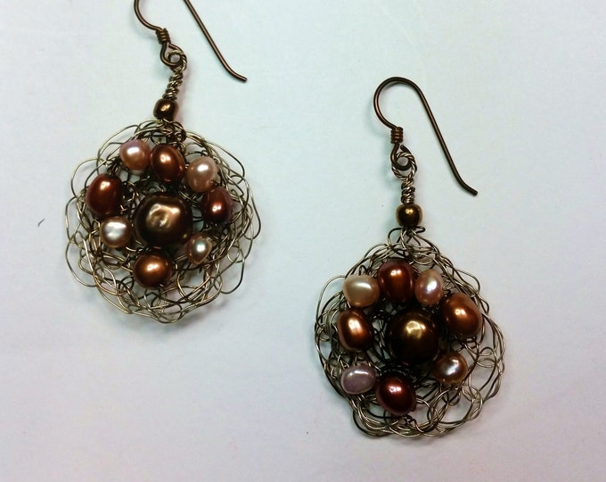 Coppery Pearl and Green Crystal Wire Crocheted Earrings with Hypoallergenic Ear Wire