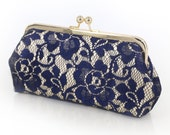 Champagne and Navy Peony Lace Bridal Clutch 8-inches   Bridesmaid Clutch