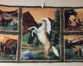 Wild Horses panel fabric, green cotton print. quilting, sewing, 24 x 44 inches picture mountains Palomino Stallion Kevin Daniel Wilmington
