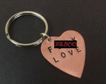 Anti Valentines, F.ck Love Keychain -Fuck Love, Copper Heart Keychain, Love Keyring, Valentines Day, Mature