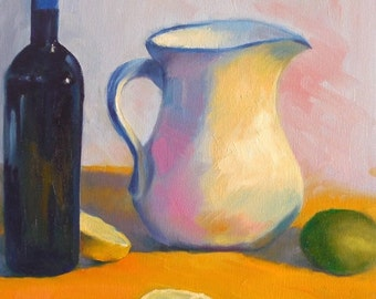 Oil Painting, White Pitcher, 11x14 Still Life with Bottle, Lemons and Lime