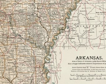 Antique Map of Arkansas - 1903 Vintage Map