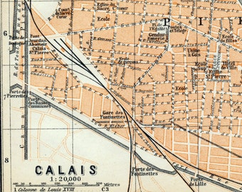 Antique Map of Calais, France - 1905 Vintage City Map - Old City Map