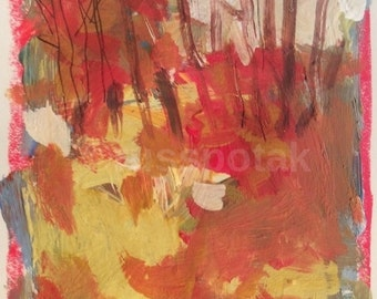 October, Impressionism,  original painting,  expressionist art, abstract painting, modern art, art on paper, russ potak, acrylic painting