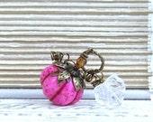 Pink Pumpkin Necklace Halloween Necklace Princess Pumpkin Autumn Necklace Fall Necklace Pumpkin Jewelry