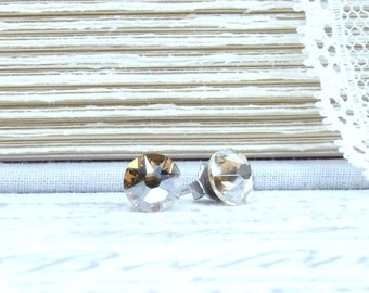 Gold Crystal Studs Golden Studs Golden Crystal Earrings Crystal Stud Earrings Surgical Steel Studs