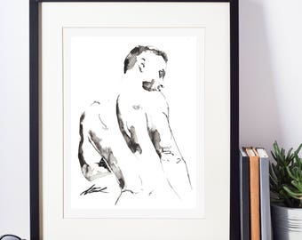 """Male Figure Drawing - Figure  13 - 9 x 12"""" ink on paper - original drawing by Brenden Sanborn"""