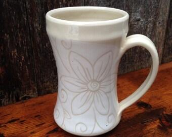 White Floral Mug / Sgraffito