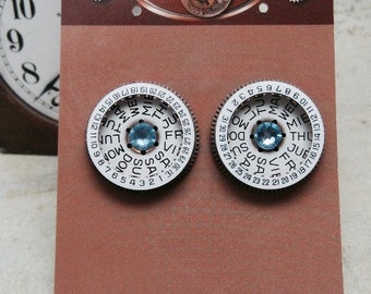 Steampunk Post Earrings with Mechanical Watch Movements and Real Swarovski crystals, Steampunk Earrings , Steampunk jewelry
