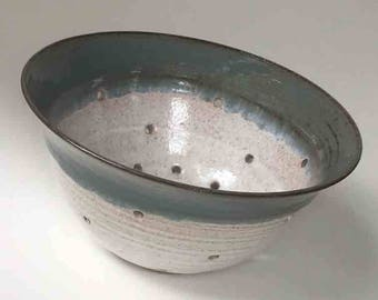 Ships Fast Fruit Bowl, Father's Day Gift, Blue Gray and White Handmade Ceramic Colander, Fruit Bowl, Kitchen Gift Ideas, Kitchen Shower Gift
