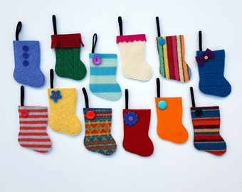 Advent Calendar - Rescued Wool Mini Stocking Ornaments - 2016 Set F - set of 25 - recycled wool sweaters - shinysparklepretty