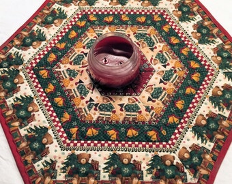Teddy Bear Christmas Quilted Table Runner, Hexagon Table Topper, Holiday Patchwork Candle Mat, Quiltsy Handmade, Christmas Centerpiece