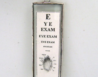 Eye Exam Pendant Glass Necklace Medical Love At First Sight Optical Illusion Optometrist Ophthalmologist Handmade Canadian Glasses