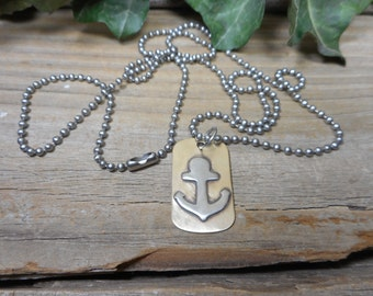 nautical pendant, anchor pendant, nautical jewelry, boat jewelry, mixed metal jewelry, anchor dog tag, nautical necklace, nickel free