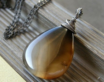 20% OFF Black and Brown Agate Necklace, Stone Teardrop Necklace