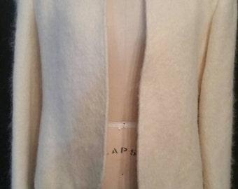 Vintage mohair blazer, jacket, coat, beige, size 10, 40 bust
