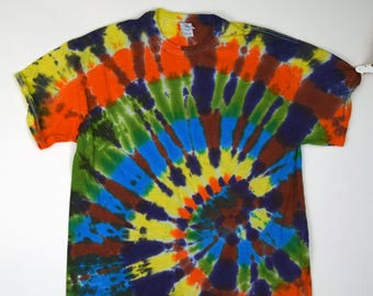 Cosmic Offset Spiral Tie Dye T-Shirt (Gildan Ultra Cotton Size XL) (One of a Kind)