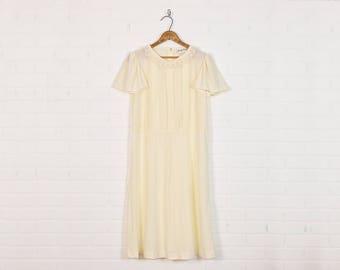 Vintage 70s Lace Dress Lace Collar Angel Flutter Sleeve Midi Dress Boho Dress Hippie Dress Hippy Dress Wedding Dress Cream Ivory Off White M