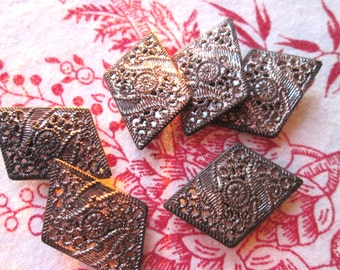 Six Victorian Buttons/Cut Steel and Mirrored Buttons/Antique Geometric Buttons/Shank Buttons/
