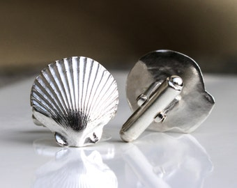Sterling Silver Cufflinks, Silver Scallop Cufflinks, Shell Cufflinks, Recycled Silver Cufflinks, Unisex gift, Beach Jewelry, Elementisle