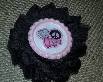 Cheerleading  hair clip, Peace love cheer shabby flower clip, toddler clip,  girls hair clip, party favors, cheer party