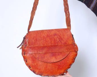 Vintage 70s HAND MADE Leather Handbag Hippie LEATHER  Purse Distressed Artisan Boho Bag