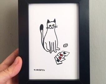 Original Art, Cat Gambling Playing Cards, Gouache and Ink Drawing
