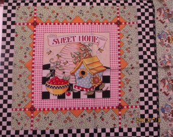 Fabric Mary Engelbreit Pillow Panels still connected Friends are Sweet Home and Day Dreams Rare Print Quilt Cotton