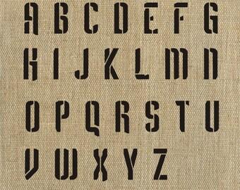 Letter Stencil Industrial Alphabet Stencil, Plaster Stencil, Furniture Stencil Wall Stencil