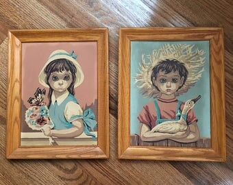 Vintage Mid Century Big Sad Eyes Boy and Girl Paint By Number Painting Pr