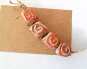 Rustic Terra Cotta Clay Kiln Fired Beads, Set of 4