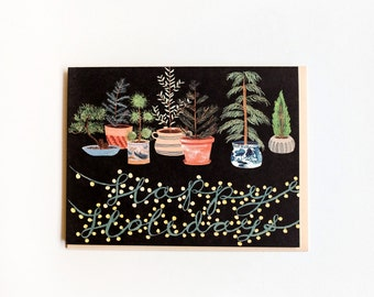 Potted Evergreens Holidays Card