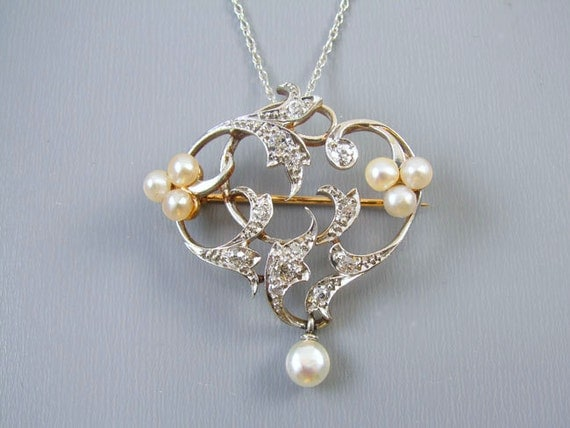 Edwardian Belle Epoque 14k platinum half carat diamond pearl heart brooch pendant Signed Henry Blank