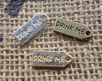 6 pcs - Double sided DRINK ME mini metal tag charms - antique bronze, silver or gold