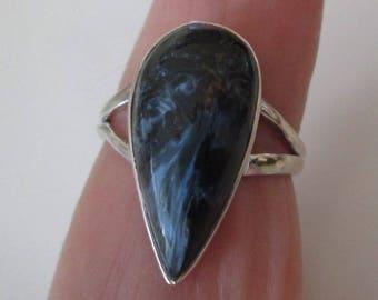 RING - PIETERSITE - TEARDROP   - Sterling Silver - size 8 1/2 Blue 481