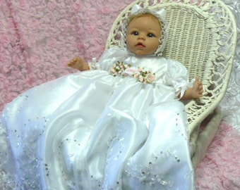 REBORN BABY GOWN White Tulle Beaded Victorian  Size 0-3 month