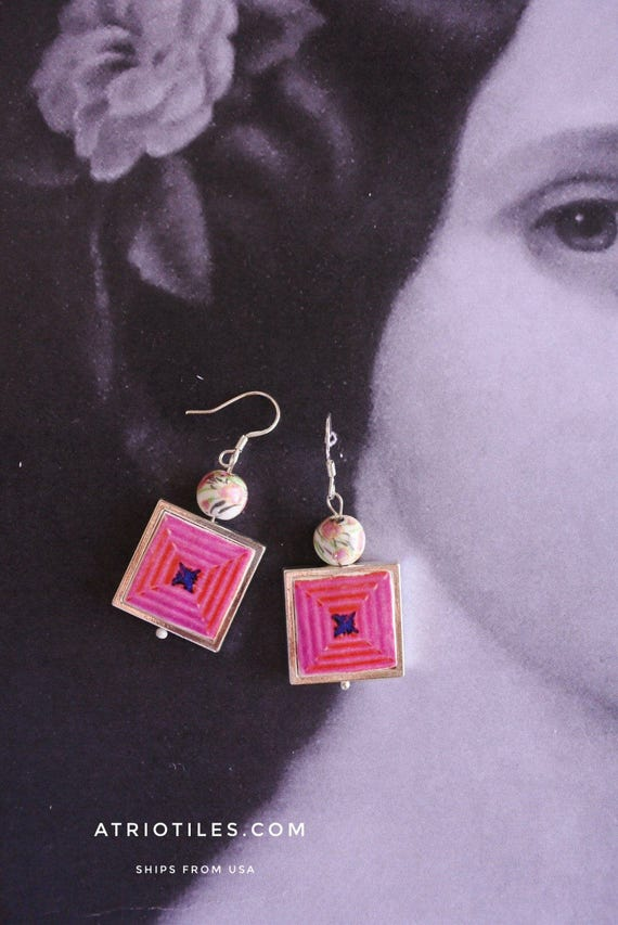 Silver Earrings Portugal Pink Azulejo Tile FRAMED Portuguese (see actual Facade photo) REVERSIBLE - Aveiro - Gift Box included 947