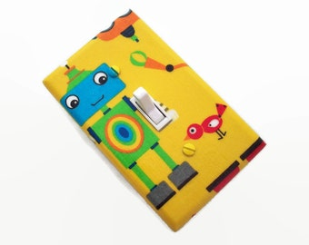 Robot Light Switch Plate - Robots Switch Plate - Blue Green Yellow Robot Bedroom - Boys Baby Nursey - Robot Nursery Decor - Boys Room Decor