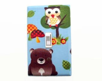 Bear Light Switch Cover - Woodland Switch Plate Cover - Gender Neutral Nursery - Owl Nursery - Bear Nursery - Woodland Nursery Decor