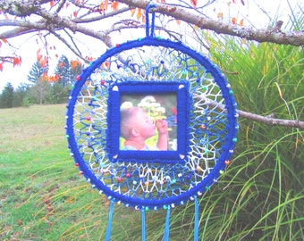 Child's Dream Catcher. Boys, blue, beads, picture, glow in the dark, unique, gift, ribbons, colorful, fun, children.