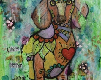 "Miniature Dachshund Doxie - limited edition print - dog - 5"" x 7"""