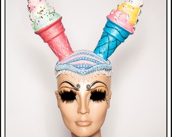 My Kinda Ice Cream…. Blue and Pink Ice Cream Cone Hat with Glitter