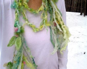 reserved - scarf lariat fantasy fiber art yarn braid garland scarf adornment - spring bells bouquet