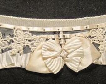 Antique Edwardian Collar Beaded Silk Bow